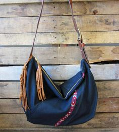 Leather & Canvas Black Fringe Crossbody Bag.