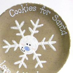 Snowflake Cookies for Santa Plate - Personalized Cookies for Santa Plate - Hand Painted Personalized Christmas Plate - Handmade in the USA on Etsy, $33.00