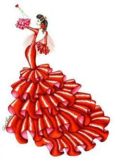 Dibujo flamenca.    -->Elsie RC