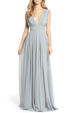 Monique Lhuillier Bridesmaids Deep V-Neck Ruffle Pleat Chiffon Gown available at #Nordstrom