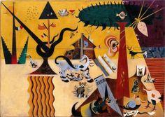 "guggenheim-art: ""The Tilled Field by Joan Miró, Guggenheim Museum Solomon R. Guggenheim Museum, New York © 2016 Successió Miró/Artists Rights Society (ARS), New York/ADAGP, Paris Medium: Oil on canvas"" Joan Miro Paintings, Wassily Kandinsky Paintings, Kandinsky Art, Max Ernst, Magritte, Miro Artist, Infinite Art, Most Famous Paintings, Famous Artists"