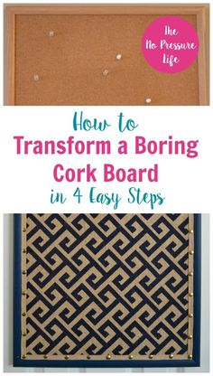 Learn how to cover a cork board with fabric and ribbon in this simple tutorial. This DIY cork board makeover is so easy! Just 4 steps and you