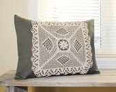 Grey / Green Twill with Ecru / Beige Doily 12 x 16 Decorative Throw Pillow Cover