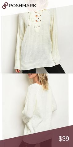 """"""" Vicki """" chunky sweater This chunky lace up sweater is so comfy and warm and is super cute with lace up detail and Tops"""