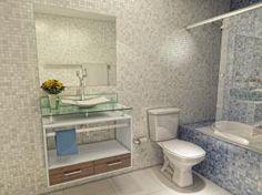 Gabinete para Banheiro com Cuba e Espelho 3 Peças - Simples 2 Gavetas - VTec Pollux