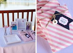 pink and navy nautical party ideas