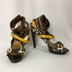 Wild Rose Josh19A Open Toe Sandals Stiletto Brown Leopard Print Croc Buckle C…