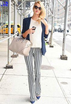 6/10 #ロージー・ハンティントン=ホワイトリー #メッシュトップス #ストライプパンツ|海外セレブ最新画像・私服ファッション・着用ブランドチェック DailyCelebrityDiary*
