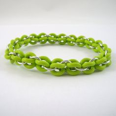 Stretch Chainmail Bracelet Lime Green Rubber O by HCJewelrybyRose Jewelry Ideas, Diy Jewelry, Beaded Jewelry, Jewlery, Jewelry Making, Unique Jewelry, Rubber Rings, Chain Mail, Make Design