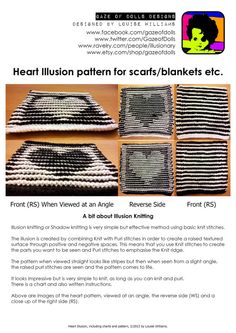 Black and White Valentine Heart Illusion Knitting pdf Pattern by gazeofdolls, Knitting Squares, Lace Knitting Patterns, Crochet Squares, Double Knitting, Knitting Stitches, Knitted Cushions, Fair Isle Pattern, Purl Stitch, Valentine Heart
