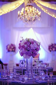gorgeous purple and white tall wedding centerpiece ~ we ❤ this! moncheribridals.com