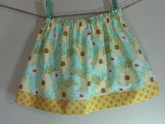 Girls Skirt Twirl Skirt Daisy Aqua Yellow by SouthernSeamsKids