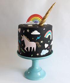 Black unicorn and rainbow Birthday cake by Claire Owen Cakes