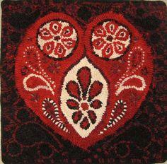 Paisley Heart Rug Hooking Pattern Hooked Rug by thepaisleystudio
