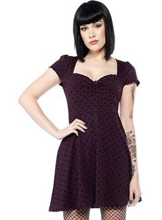 Polka Dot Pin Up Dress in Purple by Sourpuss Clothing, Clothing, Purple