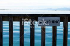 'No Fishing' Sign on Pier Royalty Free Stock Photo Fishing Signs, High Tide, Image Now, Royalty Free Stock Photos, Blue, Color, Colour, Colors