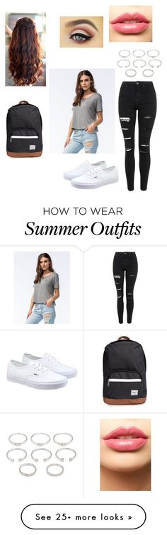 """Cute school day"" by princesspink-13 on Polyvore featuring Full Tilt, Topshop, Forever 21, Vans, LASplash, Herschel Supply Co., women's clothing, women's fashion, women and female"