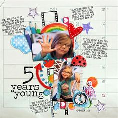 Precious birthday layout! Love the black/white background with bright pops of color!