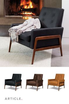 A comfortable, classic and clean-lined lounge chair. Bookended by a wooden frame and upholstered in timeless Italian-tanned leather, the Nord chair knows simple is often best. Gold Accent Chair, Small Accent Chairs, Accent Chairs For Living Room, Black Leather Chair, Leather Sofa, Leather Chairs, Sofa Design, Interior Design, Danish Chair