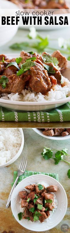 It's so easy, you won't believe how much flavor is packed into this Slow Cooker Beef with Salsa!
