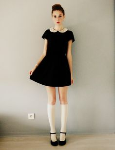 Polly wears dangerously short skirts, yet still looks innocent with the girly Peter-pan collar