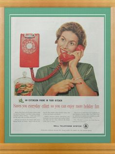 Red Wall Phone Ad  kitchen decor in red and by DustyDiggerLise