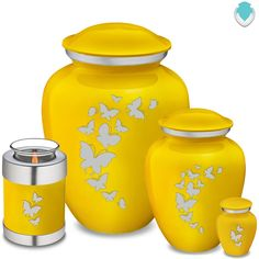 The Embrace Yellow Cremation Urn Collection Diy Bow, Diy Ribbon, Small Urns, The Embrace, Butterflies Flying, Cremation Urns, Retro Home, Ginger Jars, Custom Engraving