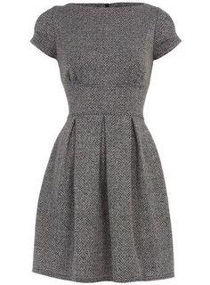 Grey, short sleeve tweed work dress.