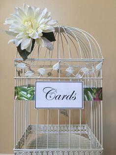 Wedding birdcage with statement ribbon and white flower. www.glamorousgaladesigns.etsy.com
