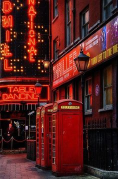 The bright neon lights of Soho in London
