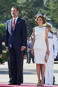 King Felipe VI of Spain and Queen Letizia of Spain receive Peruvian President Ollanta Humala Tasso at the El Pardo Palace on July 7, 2015 in Madrid, Spain.