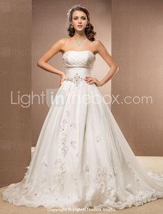 A-line Strapless Chapel Train Kapok Yarn Wedding Dress-ZZKKO