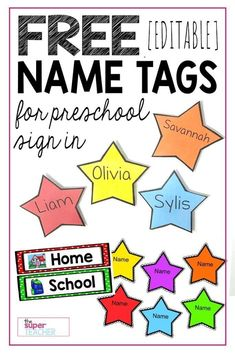 These star name tags are FREE! They are great for question of the day, sign in, or anything you need classroom labels for. They are editable and easy to make! Click here to download for FREE!