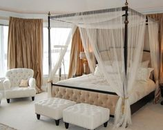 Canopy Bed Drapes/curtain for King size bed white & I love this look! Four poster bed. Perfect for our bed :-) | Dream ...