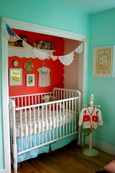 Empty closet crib nook. I was having my 4th child, and we had NO other place to put baby so we did just this! (ours was not this cute) It was the perfect fit and no one ever noticed the closet was missing! (little kids don't really need a closet anyway!)