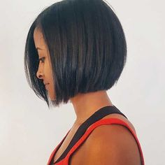 Dark sleek bob haircut, no stacked back, no angle