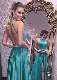 A-Line High Neck Backless Long Turquoise Satin Prom Dress with Beading Split M2171