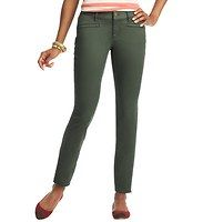 """Julie Moto Ankle Zip Skinny Pants in Stretch Twill - Styled with a zip at the ankle and slanted front pockets for offbeat edge, this skinny stretch twill pair is an irresistibly wearable way to do biker chic. Fits narrow at the waistband with a slightly curved shape at hips. Front zip with button closure. Belt loops. Front welt pockets. Back patch pockets. 28"""" inseam."""