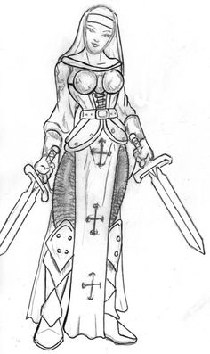 An armored and ready to fight sacred sister. Pen and paper work.