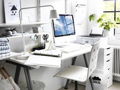 8 Pas Cher Bureau Double Ikea - New Deko Sites Bureau Design, Ikea Workspace, Room Inspiration, Interior Inspiration, Hairdressing Chairs, Ikea New, Study Room Decor, Work Lamp, Ikea Furniture