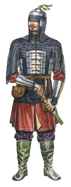 Kazakh warrior in plated mail (yushman), 16th-17th century