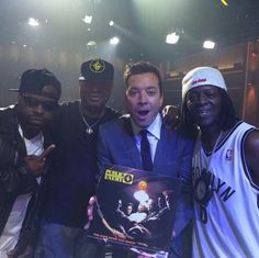 Jimmy and Black Thought onstage with Chuck D and Flavor Flav!