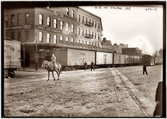 Cowboy on 13th Street and 11th Avenue in the Meatpacking District circa 1911, George Grantham Bain Collection, via Shorpy.com