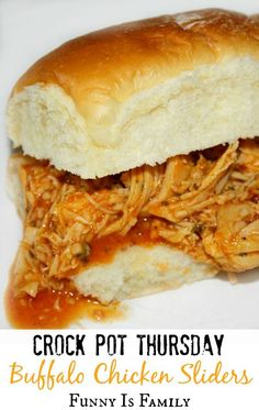 These easy Crockpot Buffalo Chicken Sliders are spicy and delicious, and are perfect party food!