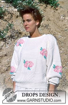 "DROPS 18-4 - DROPS jumper with embroidered roses in ""Muskat"". - Free pattern by DROPS Design"