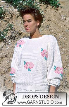 DROPS genser i Muskat med broderte Blomster. ~ DROPS Design