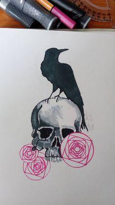 #skull #crow #roses