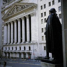 The New York Stock Exchange,Wall Street, NY, seen from the steps of the Federal Hall Memorial