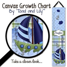 Canvas GROWTH CHART Little Sail Boat Nautical Boys by ToadAndLily, $42.00