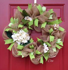 Jute; burlap mesh; sage green with hydrangeas; deco mesh wreath